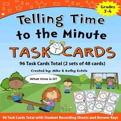 This set includes 96 task cards total (2 sets of 48 cards) to help students learn how to tell time to the minute. Use these resources in math centers, scoot game, or simply as an individual/group activity.