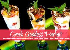 Greek Goddess Parfait Recipe - Smitten By. Recipes Using Fruit, Paleo Recipes Easy, Greek Recipes, Real Food Recipes, Snack Recipes, Cooking Recipes, Healthy Breakfast Menu, Healthy Snacks, Breakfast Recipes