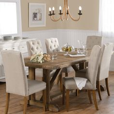 Faraway Elm Table with 6 Lucan Chairs Package - Packages - Dining Dinning Table, Dining Area, Dining Chairs, Dining Decor, Tiny Dining Rooms, Rustic Farmhouse Table, Traditional Dining Rooms, Best Dining, Dining Room Furniture