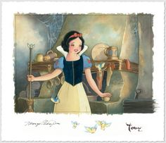 """""""Portrait of Innocence"""" by Toby Bluth - Deluxe Edition of 20 on Hand-Deckled Paper, 10x14.  Also available as a Limited Edition of 70 on Hand-Deckled Paper, 10x14.  #Disney #SnowWhite #DisneyFineArt #TobyBluth"""