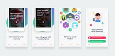 The most difficult part of mobile design is to reach people, catch their interest, and then introduce what the app does. App Ui Design, Ui Inspiration, Mobile Design, Mobile Ui, Music Lyrics, Apple Watch, Songs, Fun, Matcha