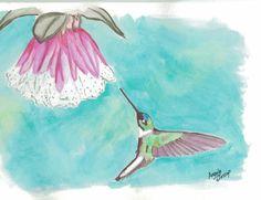 Collared Inca Hummingbird Watercolor Print by AndiejStudio on Etsy