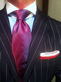 Fabulous Look- WIWT Navy pinstripe suit Ralph Lauren Blue Label, MTM Emanuel Berg shirt, tie square all by Lowet Tailors Navy Pinstripe Suit, Suit Fashion, Mens Fashion, Suit Shoes, Formal, Suit And Tie, Well Dressed Men, Dress Suits, Gentleman Style