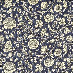 Dark Blue Wildflowers Print Italian Paper ~ Carta Varese Italy