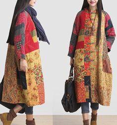 A41 Vintage Pastoral Womens Winter Long Floral Cotton-Padded Jacket Coat Outwear #AQ #CottonpaddedJacket