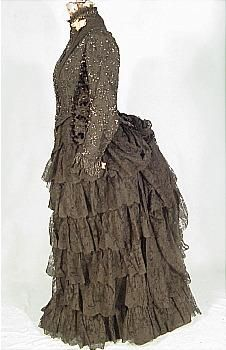 c. 1885 Black Jet Beaded Bodice with Original Tiered Chantilly Lace Skirt Bustle Reception Gown!