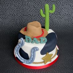Cowboy Cake - horse shoe, cactus, cow print, cowboy hat, dad, father, man pambakescakes pam bakes cakes