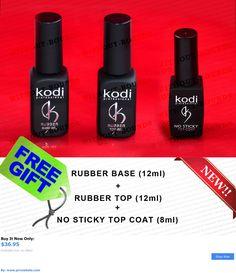Nails: Kodi Professional Rubber Base + No Sticky Top Coat Nail Gel Polish New! BUY IT NOW ONLY: $36.95 #priceabateNails OR #priceabate