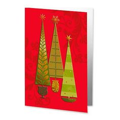 UNICEF Market | Red and Gold UNICEF Holiday Greeting Cards (set of 12) - Christmas Trees