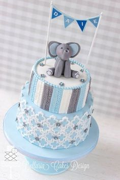Pretty Grey & Blue Knitted Patterned Birthday Cake