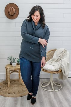 Charcoal Cowl Neck Plus Size Sweatshirt - UOIOnline.com
