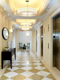 Big apartment building lobby interior design ideas for Elevator flooring options