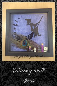 gothic home decor, flying witch on broom, shadow box frame Gothic Halloween, Halloween Home Decor, Halloween House, Halloween Decorations, Wooden Hand, Handmade Wooden, Handmade Gifts, Flying Witch, Angel Crafts
