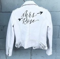 Hand Painted Leather Jacket / Bride Leather Jacket / Wedding Calligraphy by / 2018 Wedding Trends / Shop now Wedding Goals, Our Wedding, Dream Wedding, Wedding Ideas, Painted Leather Jacket, Black Leather, 2018 Wedding Trends, Custom Leather Jackets, Wedding Day Inspiration