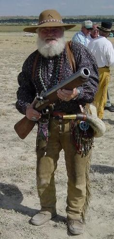 Mountain Man. Hey Dee, our brother would be jelly of this guys gun..I think this is what he is wanting. I'm pretty sure it's a blunder buss.