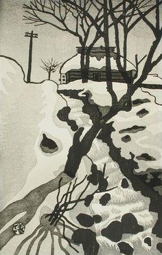 Okuyama Gihachirō (Japan, 1907-1981), Winter Scene, mid-20th century, Gift of the Jeffrey and Elizabeth Holbrook Family (M.86.147.119) #LACMA #winter