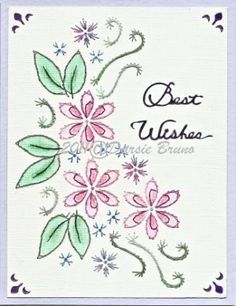 Floral Arrangement Flower Embroidery Pattern for Greeting Cards