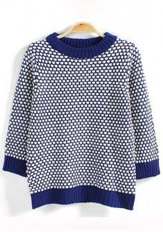 Blue Plaid Print Round Neck Cotton Blend Sweater