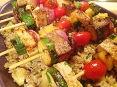 These Island Tofu Kebabs have their tofu (or seitan) and vegetables marinated in a sweet and spicy blend of orange juice, garlic, and ginger.