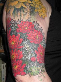 "My ""Delicate flower"" cactus tattoo, by Erik Payne Inkvision Not a huge fan of the flowers but love how the cactus is shaded."