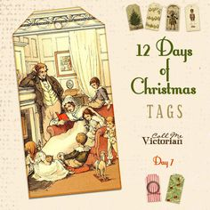 vintage family digital printable tag http://callmevictorian.com/1046/12-days-of-christmas-tags-day-7/