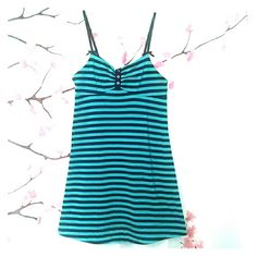 Betsey black and teal striped chemise S Black and teal striped Betsey Johnson nightgown with cute black bow. Also on Mercar* Betsey Johnson Intimates & Sleepwear Chemises & Slips
