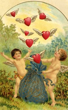 Vintage Valentine postcard with cupids and flying hearts