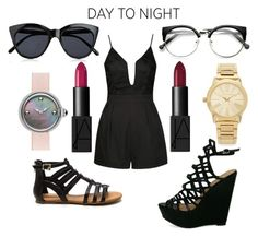 """""""Day to night"""" by victoriamello11 ❤ liked on Polyvore featuring Ally Fashion, NARS Cosmetics, Marc Jacobs, Michael Kors, Le Specs, DayToNight and romper"""