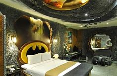 batman bedroom? I would truly do that to my nephews room!! But spider man! My nephew always has a room in my house!
