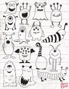 Monster Clipart - 15 Hand Drawn Monster Cliparts - Monster svg - Monster Logo Elements - Monster Illustration - OFF Monster Clipart 15 Hand Drawn Monster Cliparts Doodle Monster, Monster Drawing, Monster Tattoo, Doodle Drawings, Easy Drawings, Doodle Art, Doodle Frames, Hand Illustration, Cute Monster Illustration