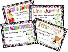 Printable FREE student rewards :)
