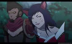 Wukong and Ahri from the game League of Legends fan art, Animated style. League Of Legends Comic, Ahri League, Legend Images, Monkey King, Anime Poses, Welcome To The Jungle, Lol, Mythology, Sci Fi