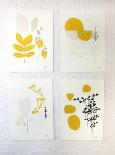 Seasons Print Set of Four 5 x 7 by leahduncan on Etsy Art And Illustration, Illustration Inspiration, Botanical Illustration, Linocut Prints, Art Prints, Plakat Design, Arte Sketchbook, Guache, Botanical Prints