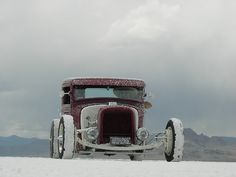 A classic Ford Roadster in the Salt Flats.