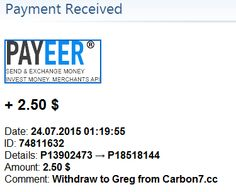 Payment received from Carbon 7 – 24/07/2015