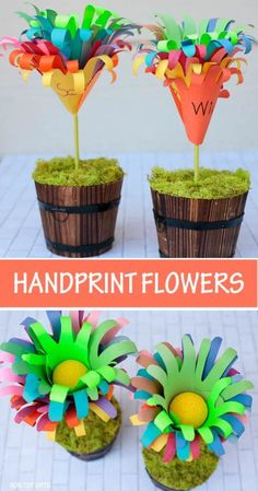 Handprint flowers for kids to make for mom or grandma for Mother's Day. The handprint flower bouquet also makes a great teacher's end of school year gift. Mothers Day Crafts For Kids, Paper Crafts For Kids, Craft Activities For Kids, Preschool Crafts, Preschool Ideas, Presents For Mom, Gifts For Kids, Hand Print Flowers, Flowers For Mom