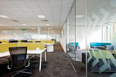 Open plan office with yellow panel :)  #openplanoffice Cubicles.com