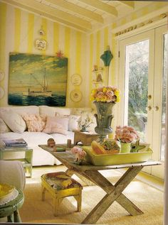 vintage nautical cottage yellow striped walls | Found on southernhospitalityblog.com
