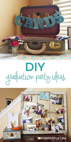DIY Graduation Party Ideas - decor and fun ideas to make your grad feel special! Graduation Party Decor, Graduation Party Ideas High School, Vintage Graduation Party Ideas, Trunk Party Ideas College, Graduation Picture Boards, Graduation Table Decorations, Graduation Party Planning, High School Graduation Gifts, Graduation Year