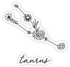 Taurus Zodiac Wildflower Constellation Sticker