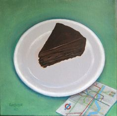 Kent Christensen, Ronnie's Chocolate Cake, 2014, Oil on linen, 12 x 12 in / 30 x 30 cm