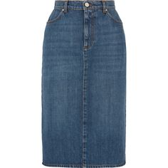 ALEXACHUNG Denim skirt ($290) ❤ liked on Polyvore featuring skirts, button skirt, knee length denim skirt, alexachung, blue denim skirt and blue skirt