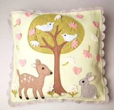 Spring Woodland Friends Cushion Cover | Woodland Creatures | Sass & Belle