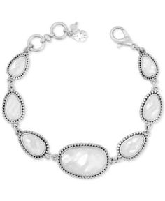 Lucky Brand Silver-Tone Mother-of-Pearl-Look Link Bracelet - Silver