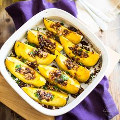Maple Date and Walnut Oven Roasted Acorn Squash