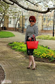 Striped tee, lace skirt, pencil skirt looks, office looks, leopard pumps, monochromatic looks, pattern mixing, fashion over 40,