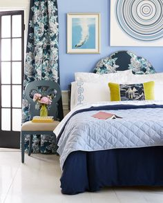 Our favorite color combinations—blue and white—gets a playful update with a mix of patterns and a touch of chartreuse.