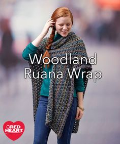 Woodland Ruana Wrap Free Knitting Pattern in Red Heart Yarns -- This yarn is a fusion of beautiful shadings in a bulky weight that makes it quick to knit. You'll love having this ruana to keep you warm in an ever-so-stylish way. It's the perfect gift that needs no exact fit and complements any figure type.