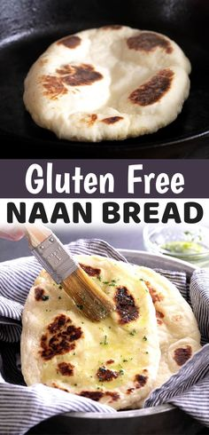 Are you looking for easy and delicious gluten free recipes? This gluten free naan bread is made extra soft and tender with yogurt, eggs and a bit of butter or ghee in the dough. Make the dough ahead of time, and then fry it up in a pan in minutes! This bread is so good served with hummus or even to make sandwiches. My family loves it! It's great for snacking, a light lunch or side dish for dinner. You can make the dough ahead of time, and then just fry it up when you're ready. So simple… Gluten Free Naan, Gluten Free Cooking, Gluten Free Recipes, Vegan Recipes, Healthy Desayunos, Eating Healthy, Clean Eating, Soft Flatbread Recipe, Flatbread Recipes
