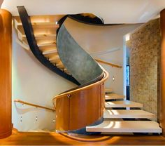 Modern concrete stairs - 22 ideas for interior and exterior stairs. Curved Staircase, Modern Staircase, Staircase Design, Spiral Staircases, Staircase Ideas, Staircase Outdoor, Stair Design, Staircase Remodel, Architecture Romane